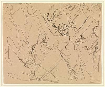 Umberto Drawing - Study For Mourning by Umberto Boccioni