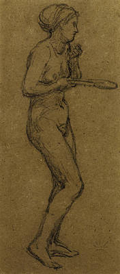 Figure Study Drawing - Study For Shuttlecock by Albert Joseph Moore