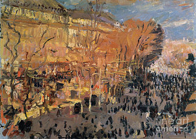 Crowds Painting - Study For The Boulevard Des Capucines by Claude Monet
