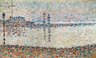 Water Scene Painting - Study For The Channel At Gravelines Evening by Georges Pierre Seurat