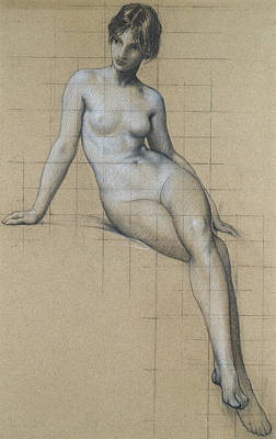 Kelpie Drawing - Study For The Kelpie by Herbert James Draper