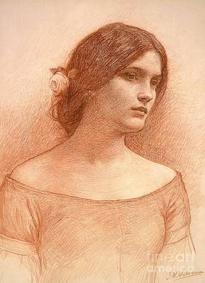 Etching Drawing - Study For The Lady Clare by John William Waterhouse