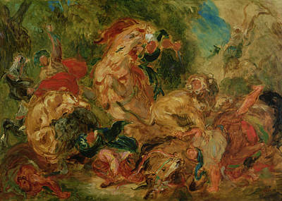 Study For The Lion Hunt, 1854 Oil On Canvas Art Print by Ferdinand Victor Eugene Delacroix