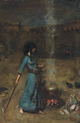Casting Spells Painting - Study For The Magic Circle, 1886  by John William Waterhouse