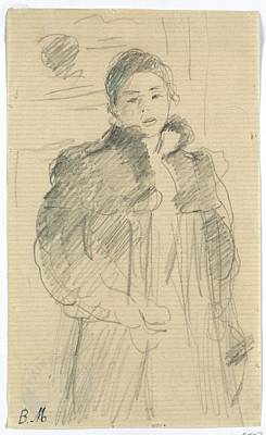 Berthe Drawing - Study For Young Girl In A Green Coat by Berthe Morisot