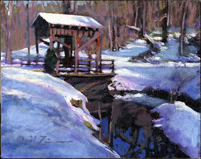 Covered Bridge Painting - Study Of A Covered Bridge by David Zimmerman