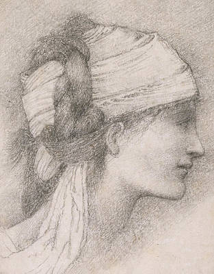 Sir Drawing - Study Of A Female Head To The Right by Sir Edward Coley Burne-Jones