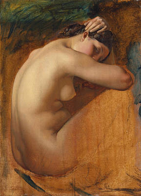 Study Of A Nude Painting - Study Of A Female Nude by Henri Lehmann