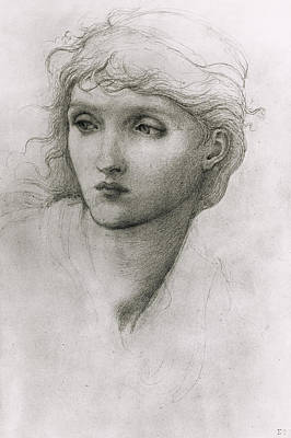 Study Of A Girls Head Print by Sir Edward Coley Burne-Jones