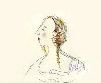 Watercolor With Pen Drawing - Study Of A Lady Looking Left With Braids by Cathy Peterson