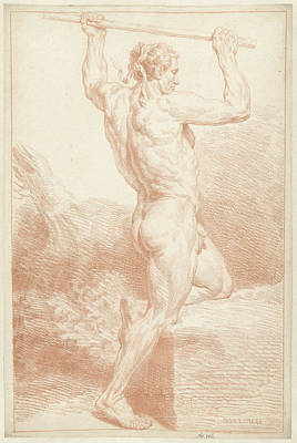 Study Of A Male Nude, On One Knee, With A Stick Art Print by Quint Lox