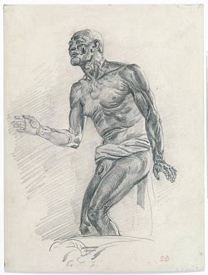 Study Of A Male Nude Study Art Print by Eug�ne Delacroix