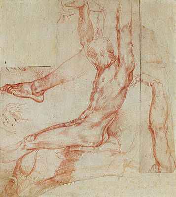 Caravaggio Drawing - Study Of A Man With Various Sketches Recto by Litz Collection