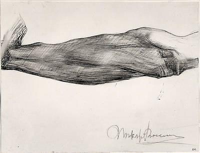 Umberto Boccioni Drawing - Study Of A Mans Forearm by Umberto Boccioni