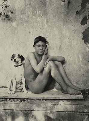Nudes Photograph - Study Of A Nude Boy With Dog by Wilhelm von Gloeden