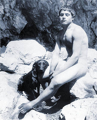 Mans Best Friend Photograph - Study Of A Nude Boy With Dog by Wilhelm von Gloeden
