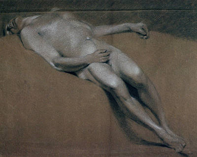 Relaxing Drawing - Study Of A Recumbent Male Nude by John Constable