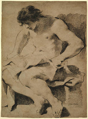 Giovanni Francesco Barbieri Drawing - Study Of A Seated Young Man Guercino Giovanni Francesco by Litz Collection