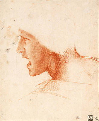 Study Of A Warrior's Head For The Battle Of Anghiari Art Print