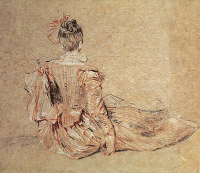 Striped Dress Photograph - Study Of A Woman Seen From The Back, 1716-18 Chalk On Paper by Jean Antoine Watteau