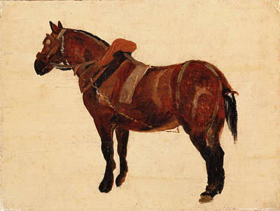 Tack Painting - Study Of A Working Horse, Thomas Sidney Cooper by Litz Collection