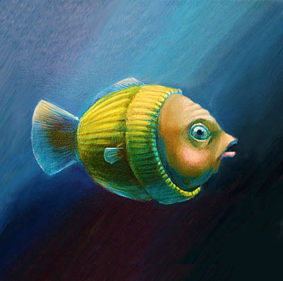 Study Of A Worried Sweater Fish Lateral View Pillow Art Print