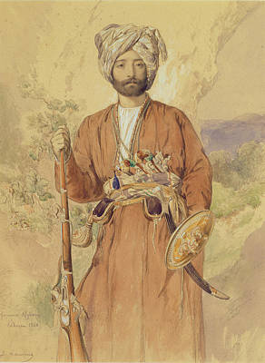Study Of An Afghan Warrior, Tehran, 1848 Art Print
