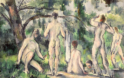 Skinny Dipping Painting - Study Of Bathers by Paul Cezanne