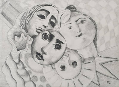 Study Of Faces In Pencil Art Print by Carolyn Hubbard-Ford