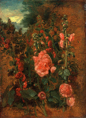 Visual Drawing - Study Of Hollyhocks Hollyhocks, Attributed To John Constable by Litz Collection