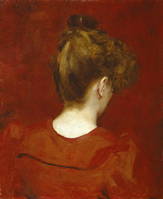 Hair Bun Painting - Study Of Lilia by Charles Emile Auguste Carolus Duran