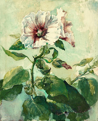 Nature Study Painting - Study Of Pink Hollyhocks In Sunlight From Nature by John LaFarge