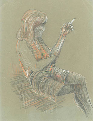 Pastel - Study Of Seated Girl by Giovanni Caputo