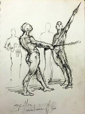 Life Drawing Drawing - study of Spotters by H James Hoff
