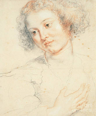 Saint Drawing - Study Of The Head Of St. Apollonia by Peter Paul Rubens