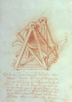 Mirror Drawing - Study Of The Wooden Framework With Casting Mould For The Sforza Horse by Leonardo da Vinci