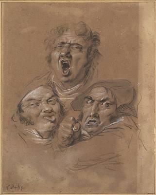 Study Of Three Heads Art Print