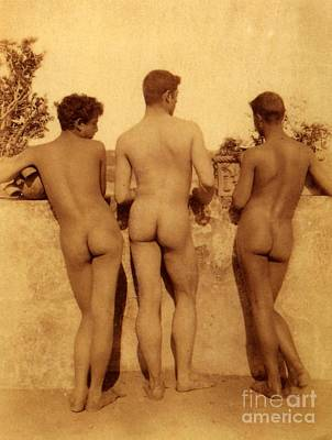Leaning Photograph - Study Of Three Male Nudes by Wilhelm von Gloeden