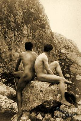 Nudes Photograph - Study Of Two Male Nudes Sitting Back To Back by Wilhelm von Gloeden