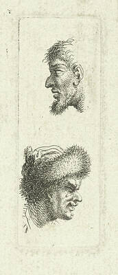 Caspar Drawing - Study Of Two Mens Heads, Johannes Caspar Philips by Johannes Caspar Philips