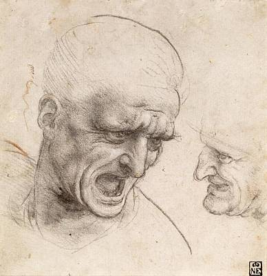 Two Heads Painting - Study Of Two Warriors' Heads For The Battle Of Anghiari by Leonardo da Vinci