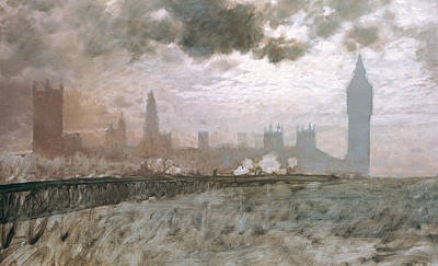 Big Ben Painting - Study Of Westminster Bridge by Giuseppe De Nittis