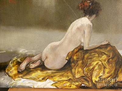 Yellow Painting - Study Over A Silk Drapery by Grigor Malinov