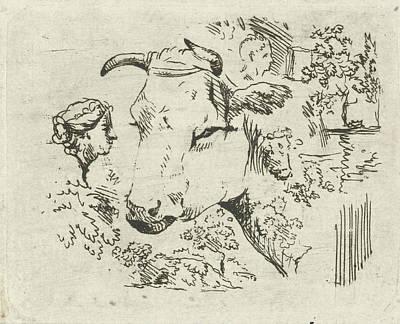 Study Sheet With Cows Head, Hermanus Fock Art Print