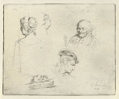 Human Head Drawing - Study Sheet With Different Heads, Cornelis Kruseman by Cornelis Kruseman