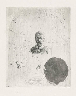 Dog Study Drawing - Study Sheet With The Bust Of A Man, Christiaan Wilhelmus by Christiaan Wilhelmus Moorrees
