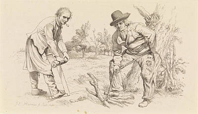 Study Sheet With Wood Firewood-gatherer And A Man With Saw Art Print by Quint Lox
