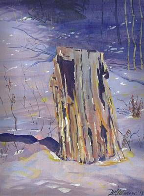 Stump In Winter Art Print