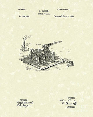 Stump Puller 1887 Patent Art Art Print