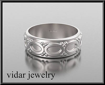 Gemstone Engagement Ring Jewelry - Stunning 14kt White Gold Unisex Wedding Ring by Roi Avidar